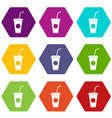 paper cup with straw icon set color hexahedron vector image