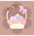 pastel colorful flowers in basket with ribbon and vector image