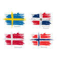 set of smear painted flags of different countries vector image