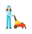 Womoan Using High-Tech Hoover Cleaning Service vector image