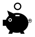 Piggy Bank Black Pig Icon with Coin Flat Design vector image