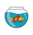 Fish animal cartoon inside bowl design vector image