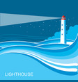 lighthousesea waves blue night background vector image