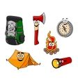 Cartoon camping and travel objects vector image vector image