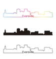 Evansville skyline linear style with rainbow vector image vector image