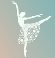 ballerina dancing white silhouette isolated vector image