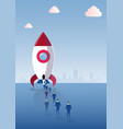 business people group walking to space ship rocket vector image