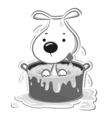 Dog in bath vector image