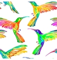 Watercolor hummingbirds seamless pattern vector image