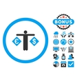 Currency Trader Flat Icon with Bonus vector image