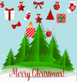 Christmas background with Christmas tree and vector image