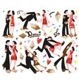 dancing couples -cartoons vector image vector image