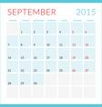 Calendar 2015 flat design template September Week vector image