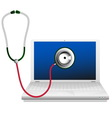 Laptop and stethoscope Computer repair concept vector image