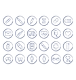 Medicine pen drawing linear icons vector image