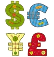 Patchwork Currency Symbols vector image