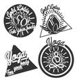 Vintage yoga emblems vector image