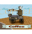 Retro banner with a cup of coffee and cars vector image