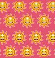 happy funny sun wallpaper pattern cartoon pink vector image