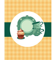 tea pot set with cupcake vector image