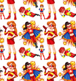 Seamless female superhero in red vector image vector image