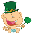 Baby St Patricks Day Boy In A Diaper And Hat vector image