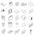 Cinema icons set isometric 3d style vector image