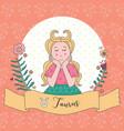 cute horoscope zodiac girl taurus vector image
