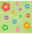 funny bright background with flowers vector image
