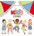 kid zone banner poster design with happy children vector image