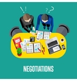 Negotiation banner Top view business workspace vector image