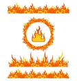 Simple fire border patterns and round frame Flame vector image