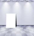 White room with advertising stand vector image