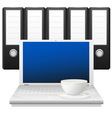 Laptop with cup and binders vector image vector image