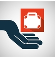 hand hold suitcase business e-commerce icon vector image
