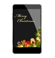 christmas smartphone vector image vector image