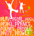 active kids design with action words vector image