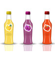 glass beverage bottle set fresh juices lemonade vector image