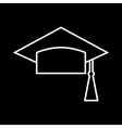 Outlined Mortar Board vector image