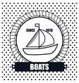 Sailing boat icon background dot design vector image