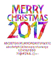 Patched rainbow Merry Christmas 2017 greeting card vector image