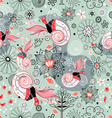 Flower texture with birds in love vector image vector image