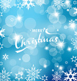 Blue Christmas background with snowflakes and vector image vector image