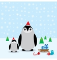 Funny penguins in the red hat christmas winter vector image