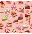 Seamless pattern with fruit cake slices vector image vector image