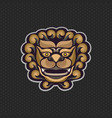 chinese lion logo design template lion head icon vector image
