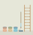 Ladder Paint Roller And Paint Buckets Home vector image