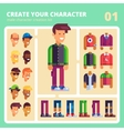 Male character kit in flat design vector image