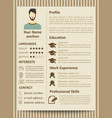 modern flat male resume tempate with design vector image