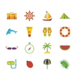 Summer holiday flat icons set vector image